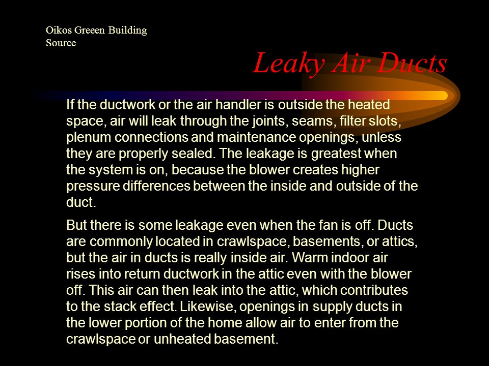 Leaky Air Ducts Oikos Greeen Building Source.
