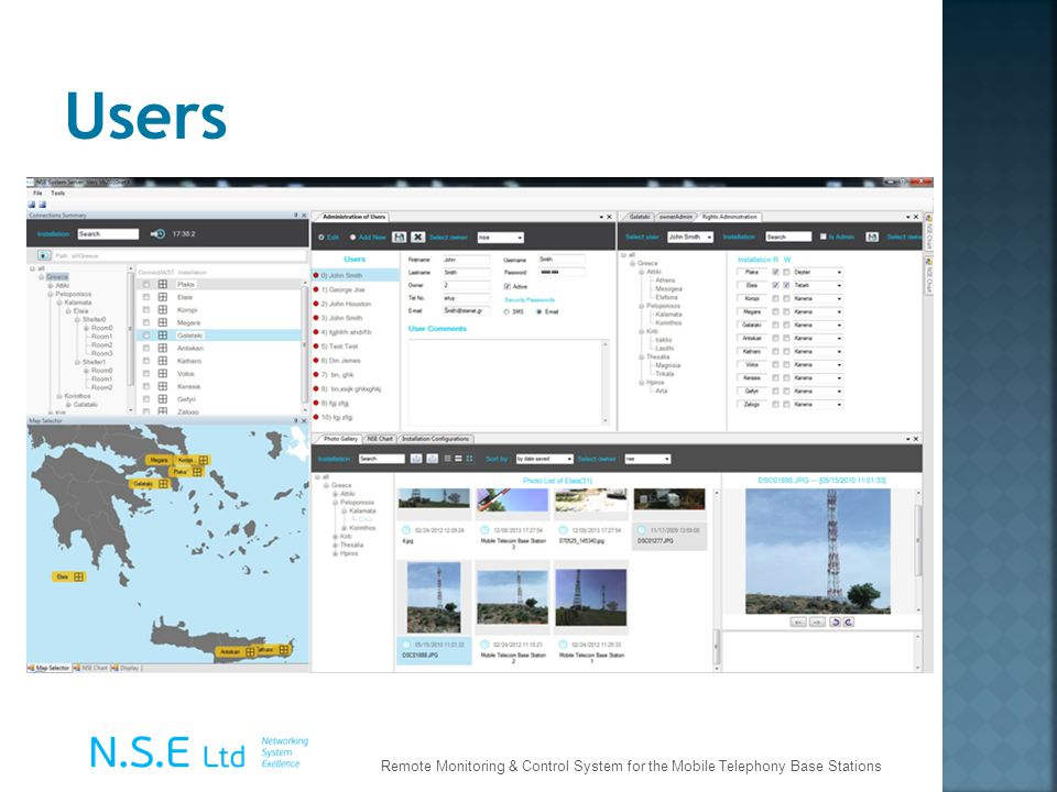 Users Remote Monitoring & Control System for the Mobile Telephony Base Stations