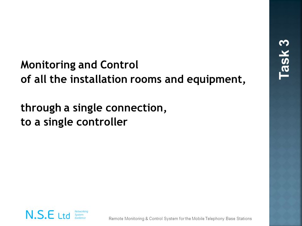 Task 3 Monitoring and Control of all the installation rooms and equipment, through a single connection, to a single controller