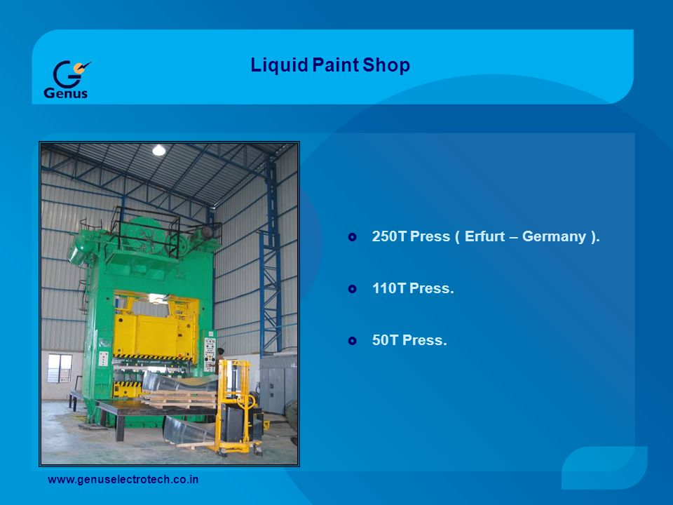 Liquid Paint Shop 250T Press ( Erfurt – Germany ). 110T Press.
