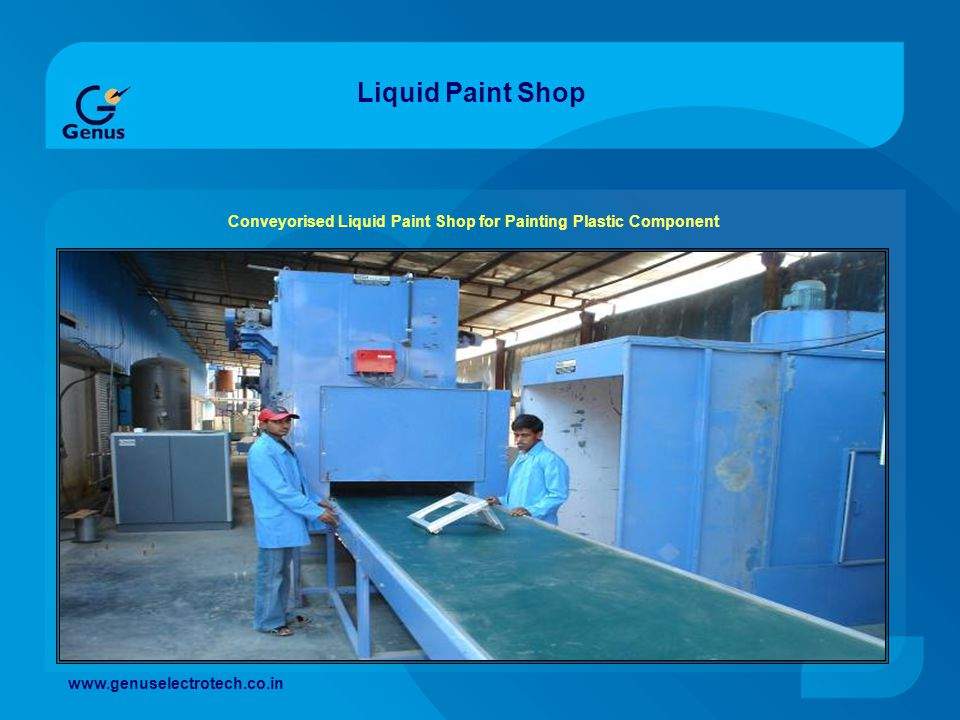 Conveyorised Liquid Paint Shop for Painting Plastic Component