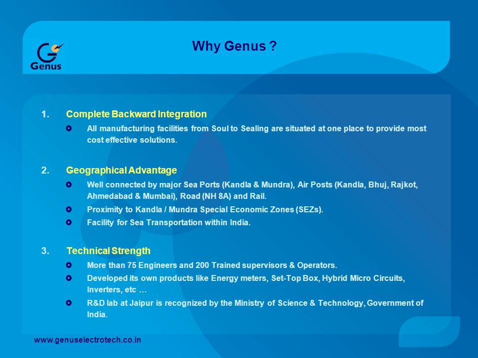 Why Genus Complete Backward Integration Geographical Advantage
