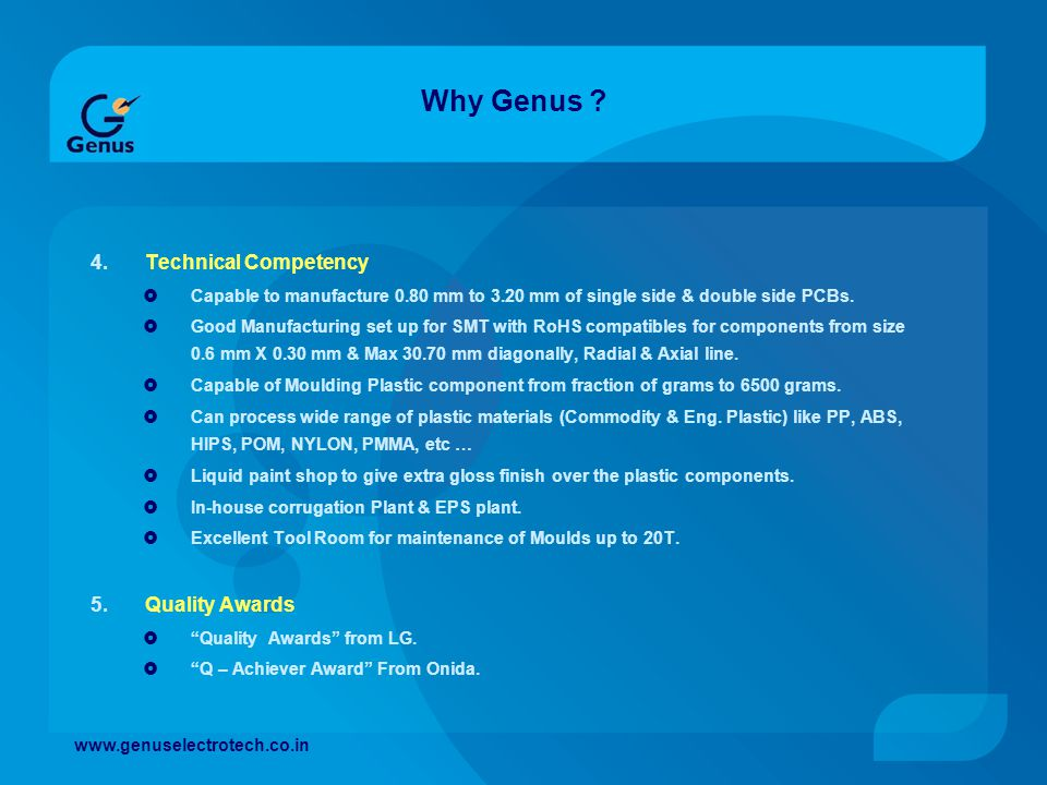 Why Genus Technical Competency Quality Awards