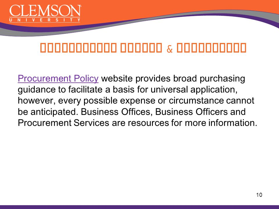 Procurement Policy & Guidelines