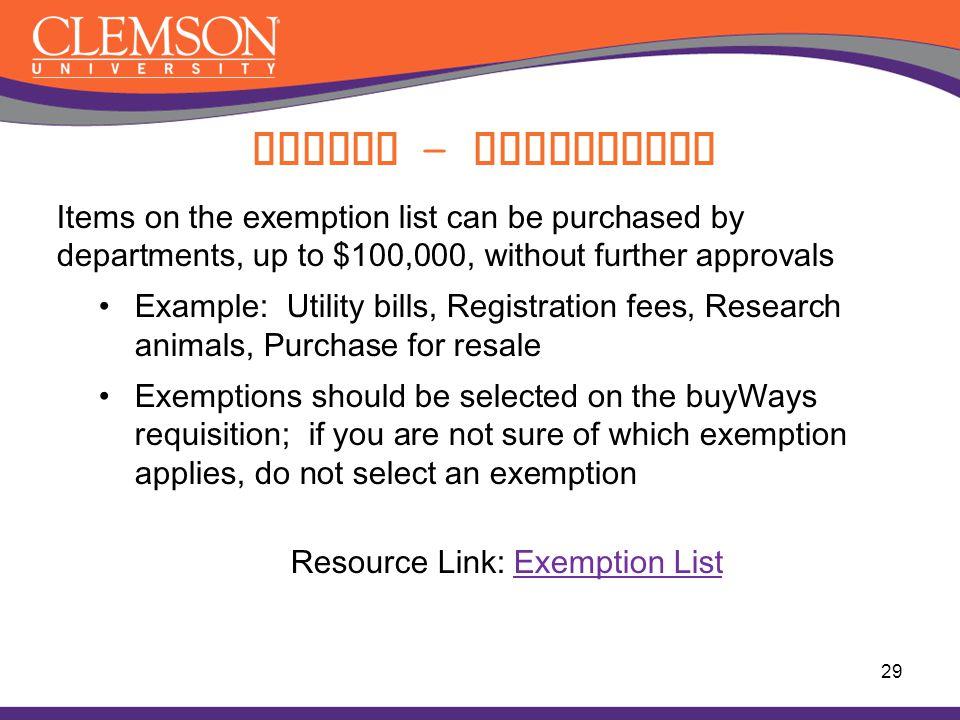 Resource Link: Exemption List