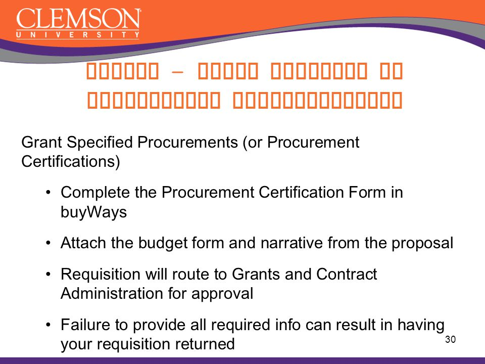 Buying – Grant Specific or Procurement Certifications