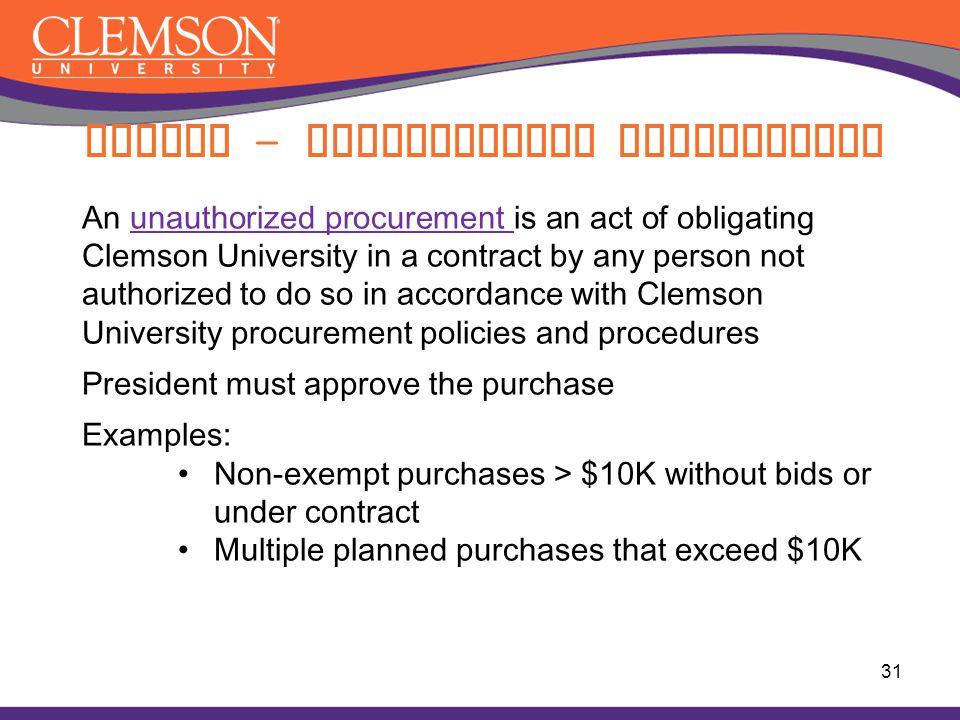 Buying – Unauthorized Procurement