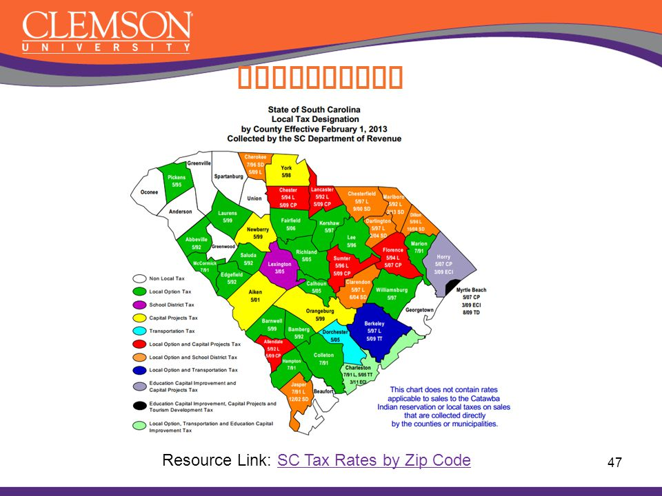 Compliance Resource Link: SC Tax Rates by Zip Code