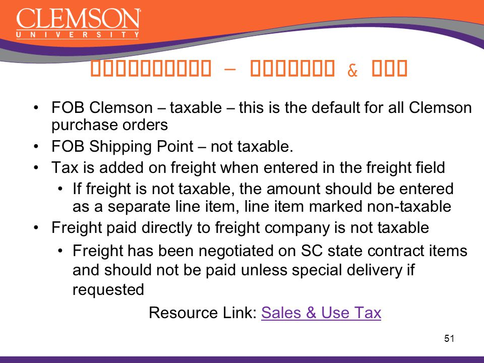 Compliance - Freight & Tax