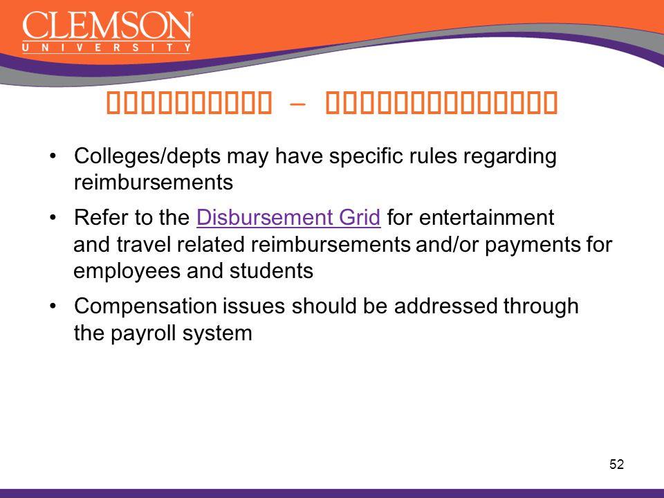 Compliance - Reimbursements