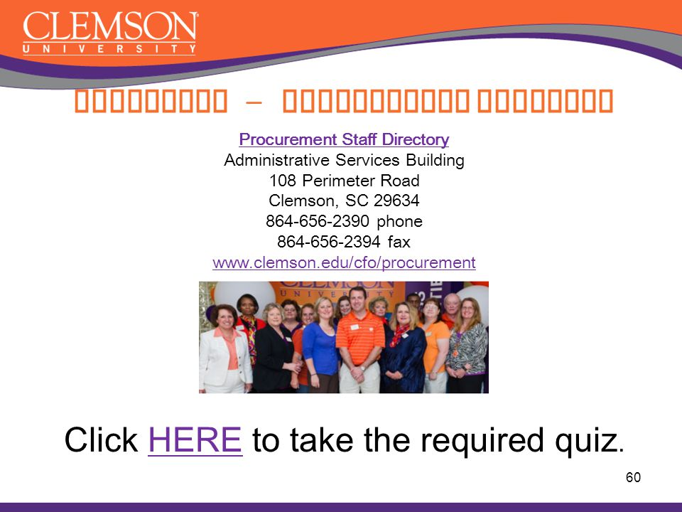 Procurement Staff Directory