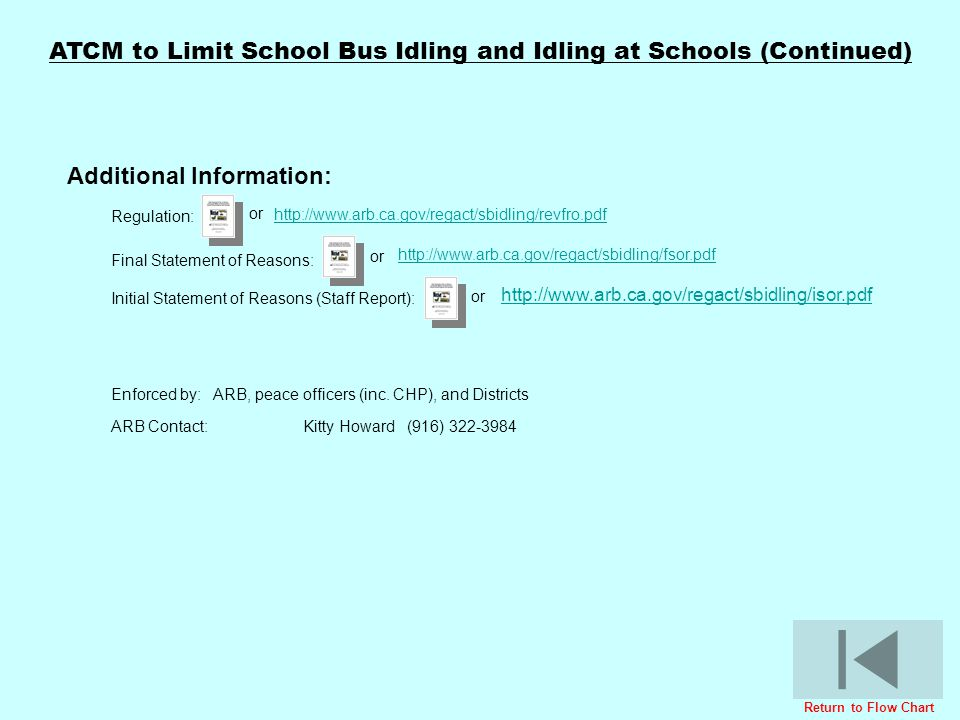 ATCM to Limit School Bus Idling and Idling at Schools (Continued)