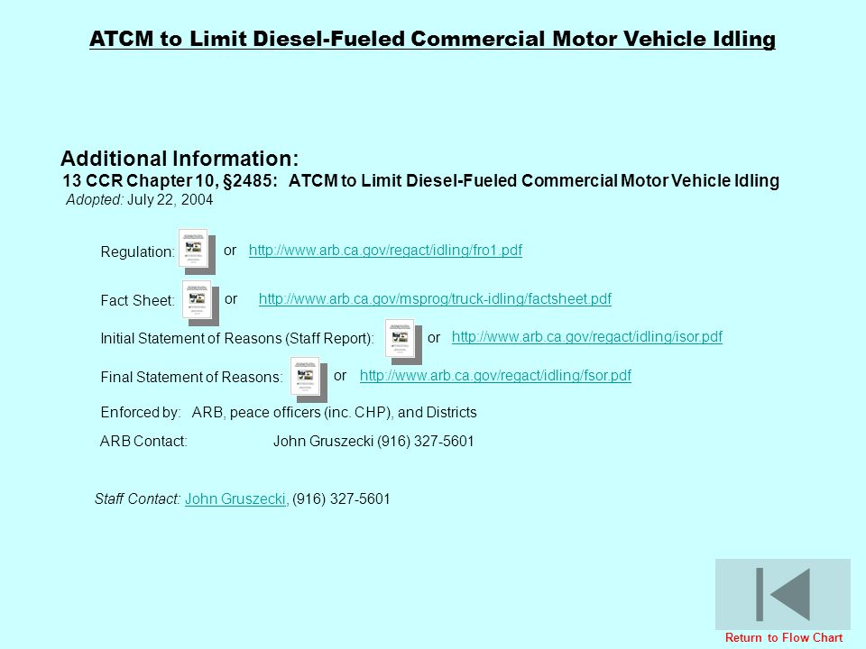 ATCM to Limit Diesel-Fueled Commercial Motor Vehicle Idling