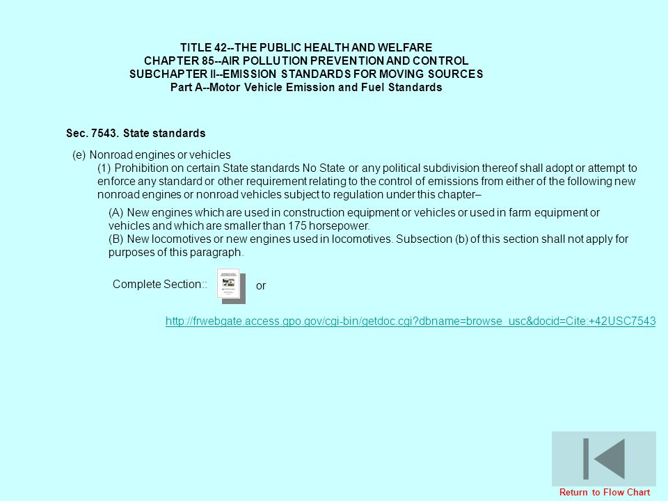TITLE 42--THE PUBLIC HEALTH AND WELFARE CHAPTER 85--AIR POLLUTION PREVENTION AND CONTROL SUBCHAPTER II--EMISSION STANDARDS FOR MOVING SOURCES Part A--Motor Vehicle Emission and Fuel Standards