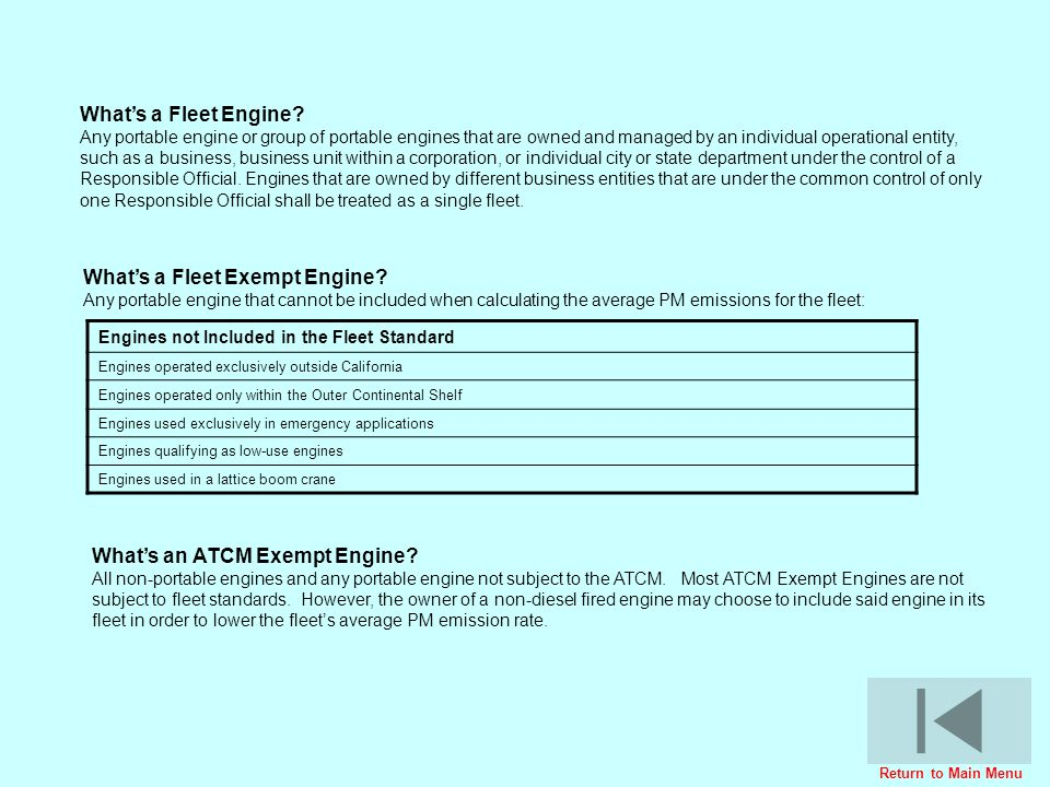 What's a Fleet Exempt Engine