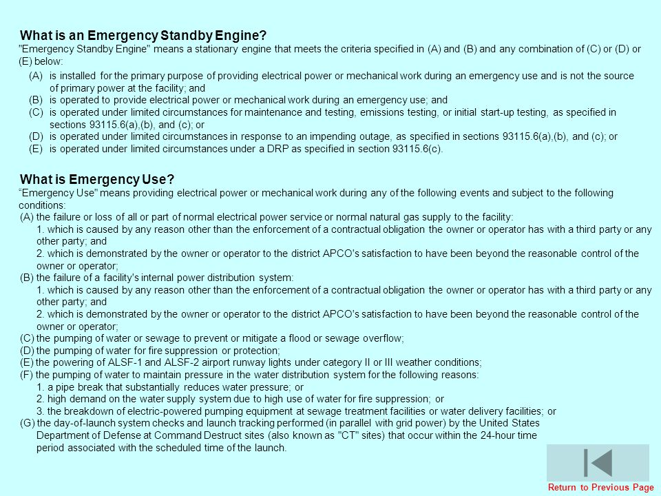 What is an Emergency Standby Engine