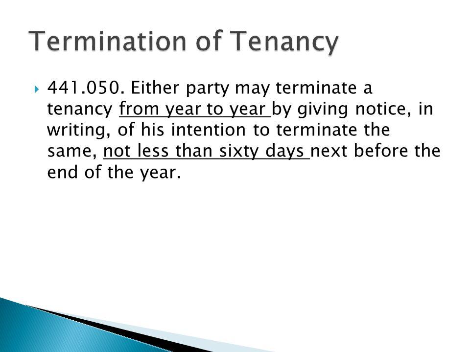Termination of Tenancy