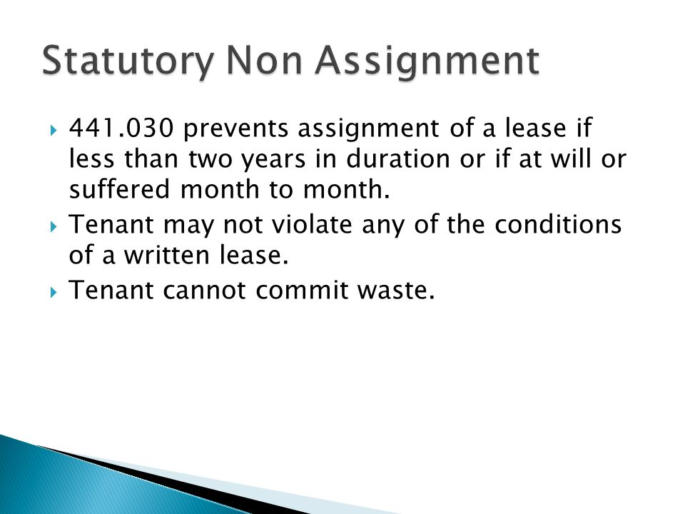 Statutory Non Assignment
