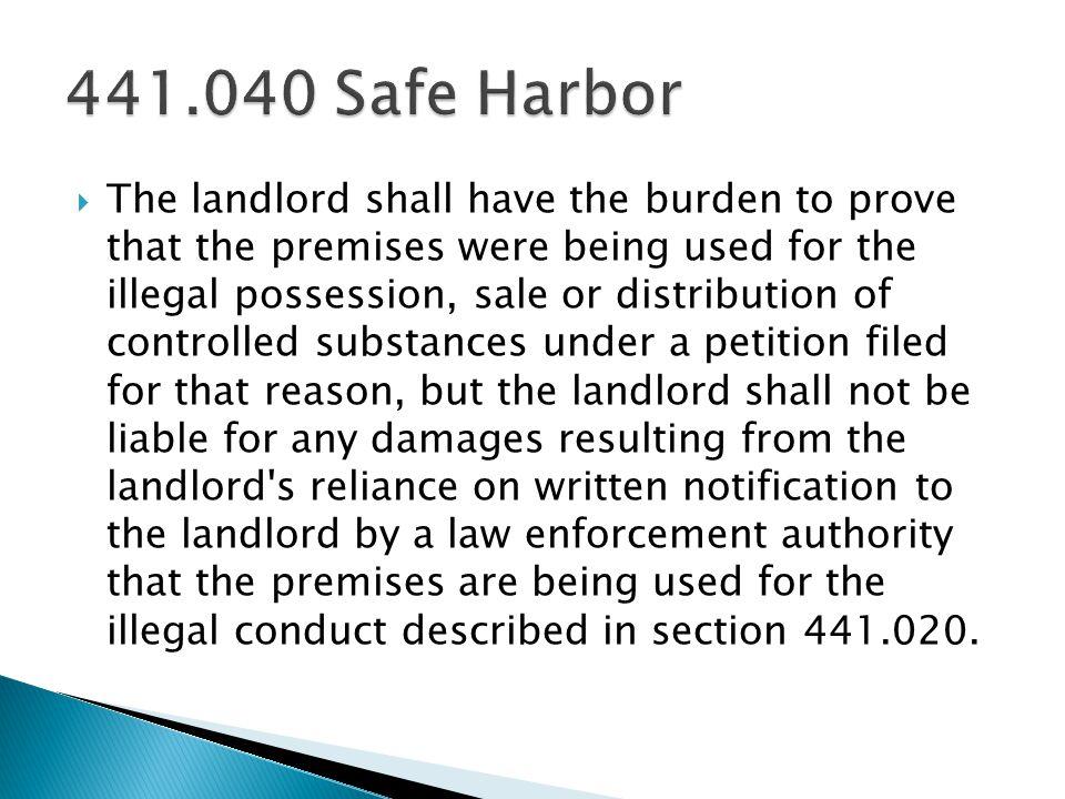 441.040 Safe Harbor