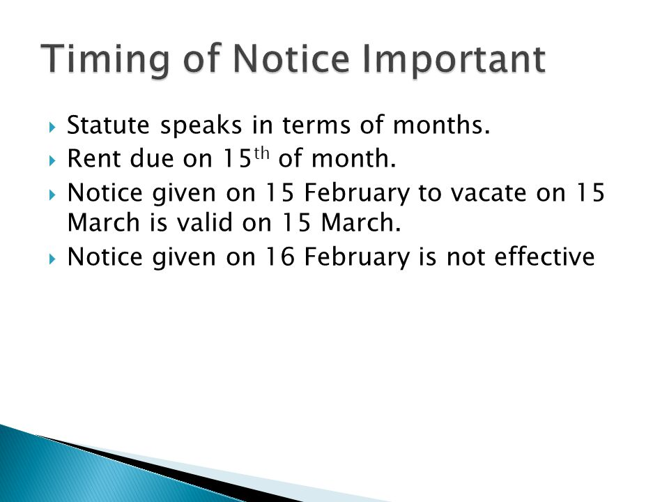 Timing of Notice Important