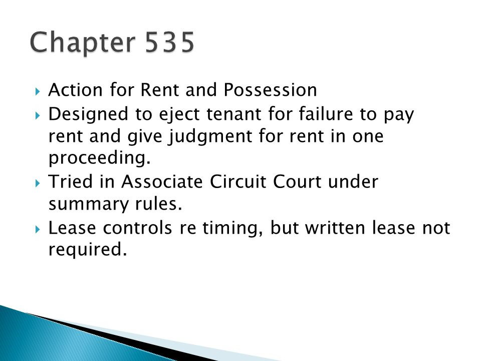 Chapter 535 Action for Rent and Possession
