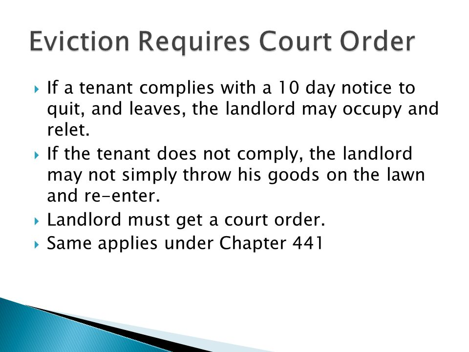 Eviction Requires Court Order