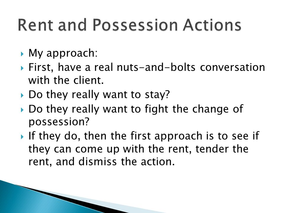 Rent and Possession Actions