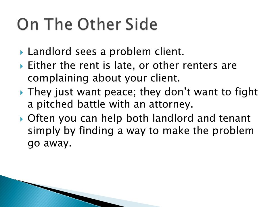 On The Other Side Landlord sees a problem client.