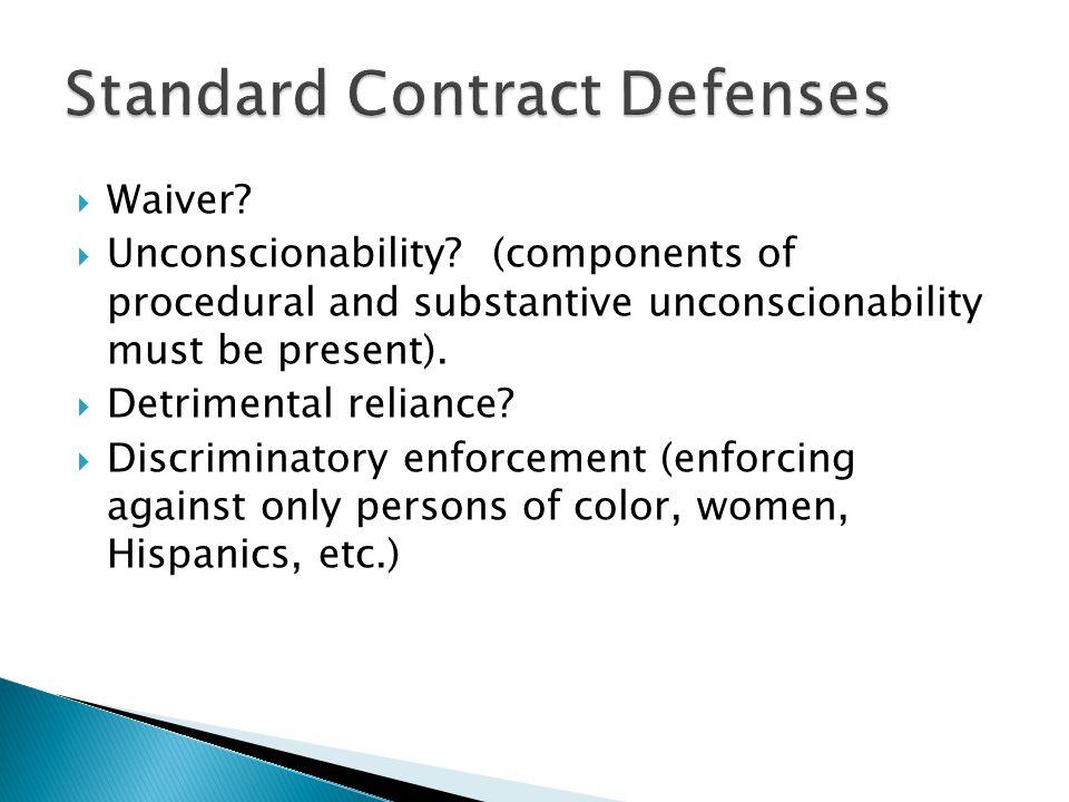 Standard Contract Defenses