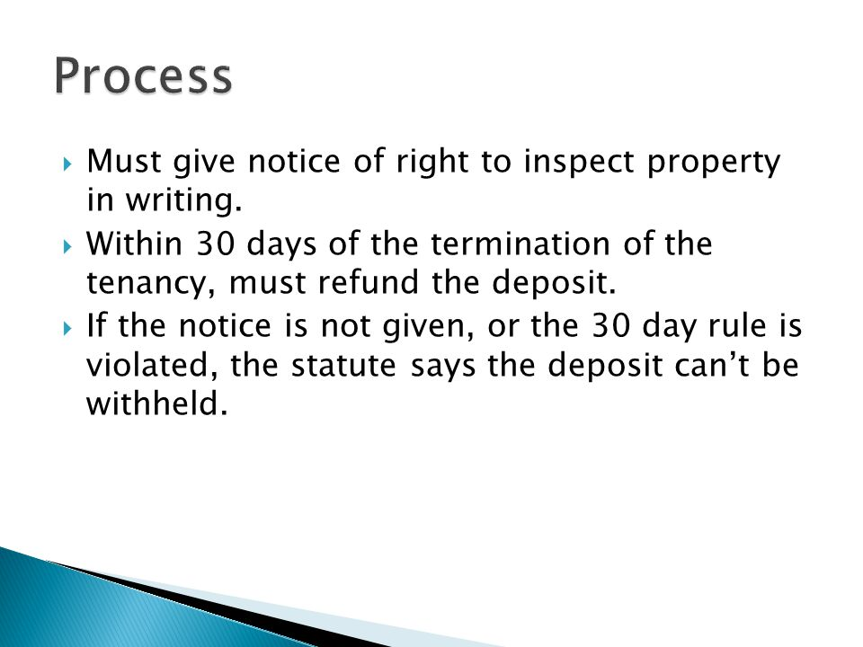 Process Must give notice of right to inspect property in writing.