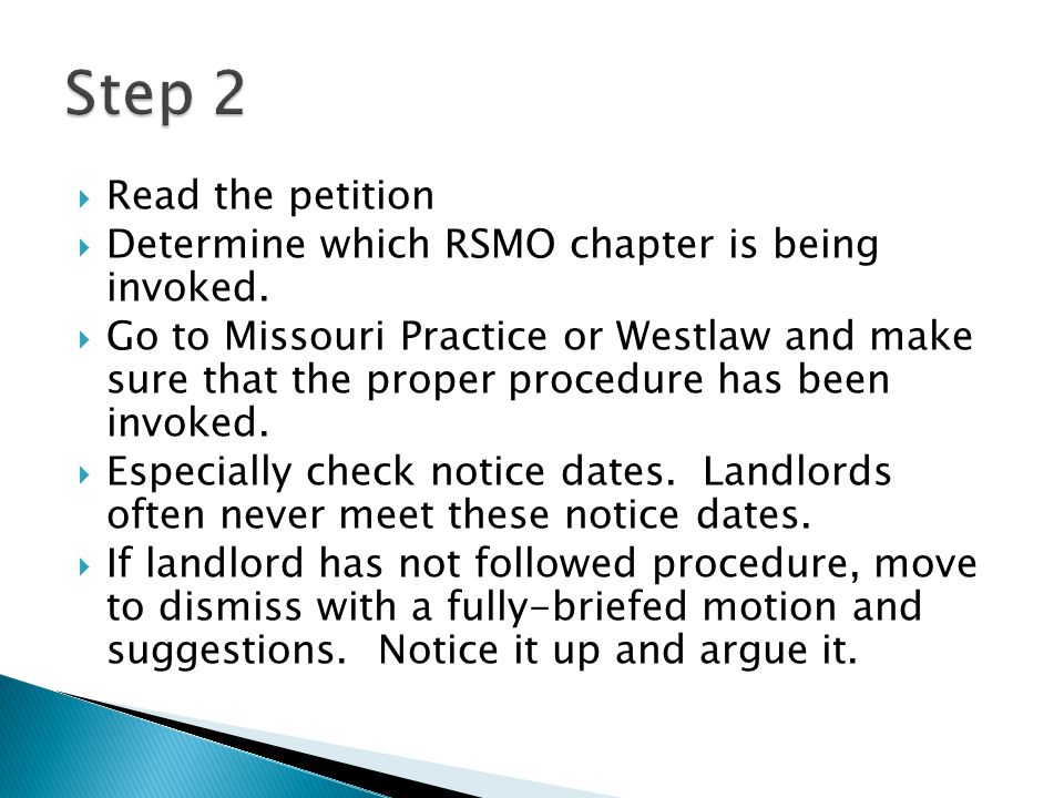 Step 2 Read the petition. Determine which RSMO chapter is being invoked.