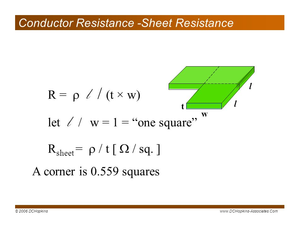Conductor Resistance -Sheet Resistance