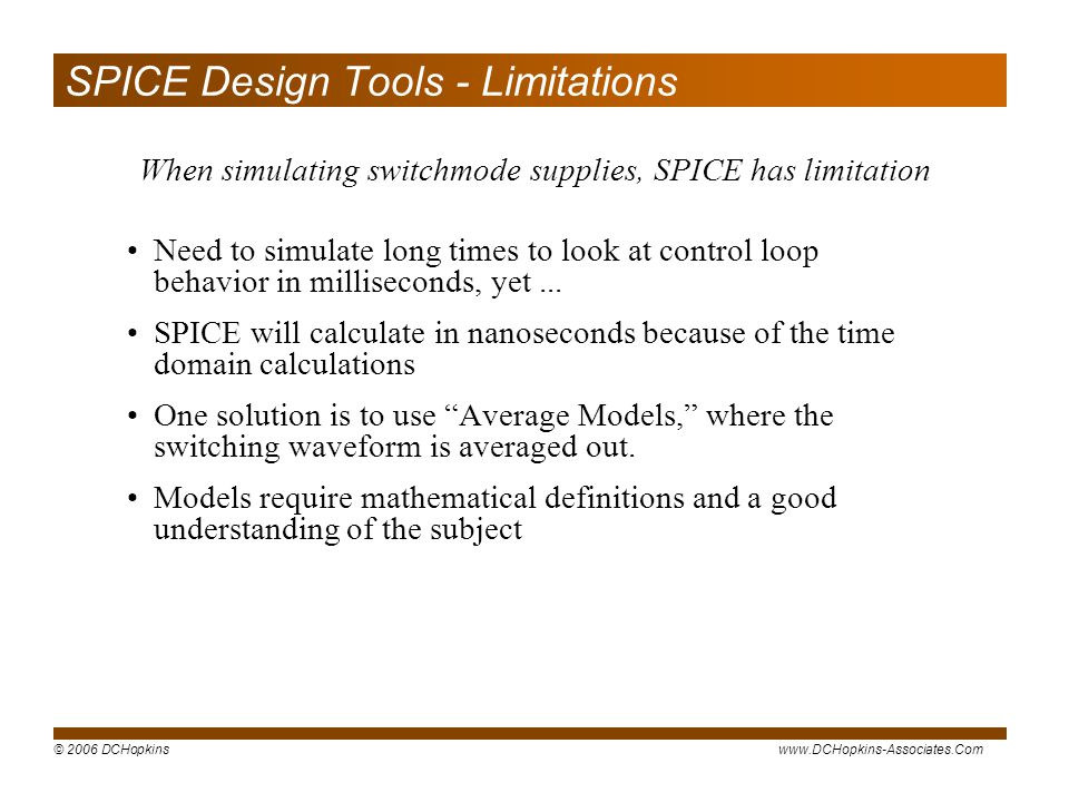 SPICE Design Tools - Limitations