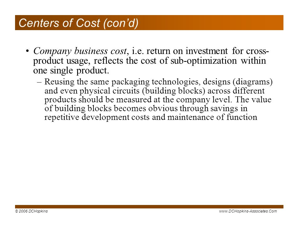 Centers of Cost (con'd)