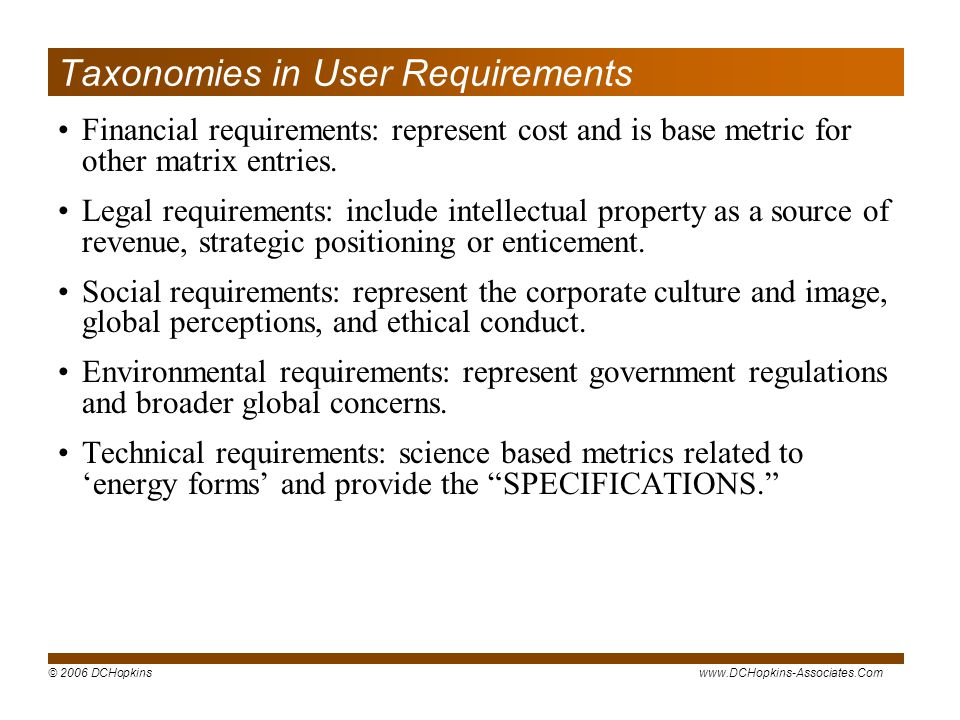 Taxonomies in User Requirements