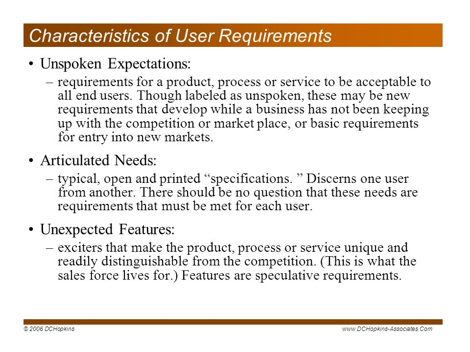 Characteristics of User Requirements