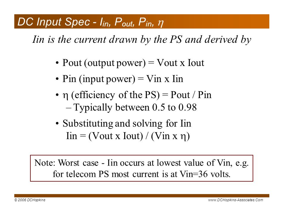 DC Input Spec - Iin, Pout, Pin, 