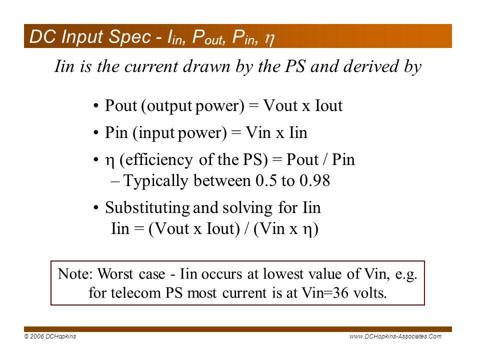 DC Input Spec - Iin, Pout, Pin, 