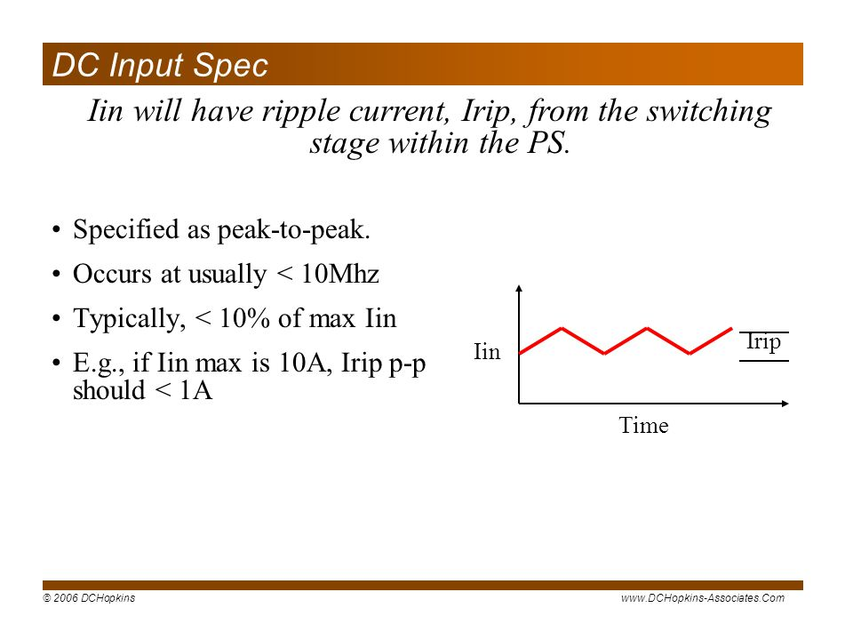 DC Input Spec Iin will have ripple current, Irip, from the switching stage within the PS. Specified as peak-to-peak.