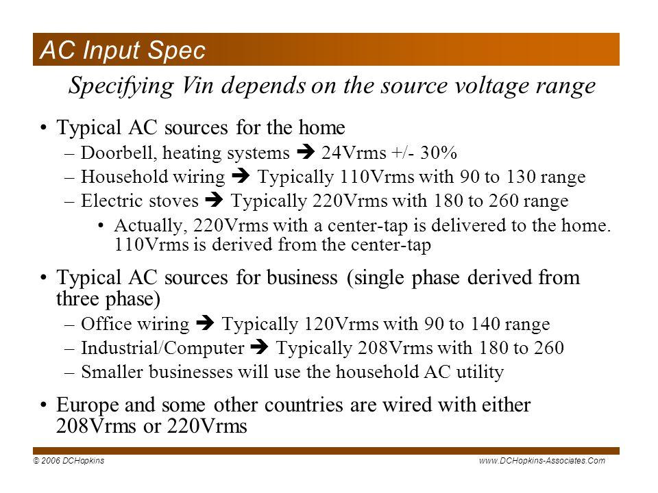 Specifying Vin depends on the source voltage range