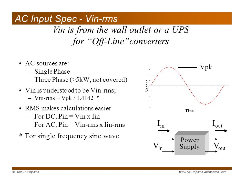 Vin is from the wall outlet or a UPS for Off-Line converters