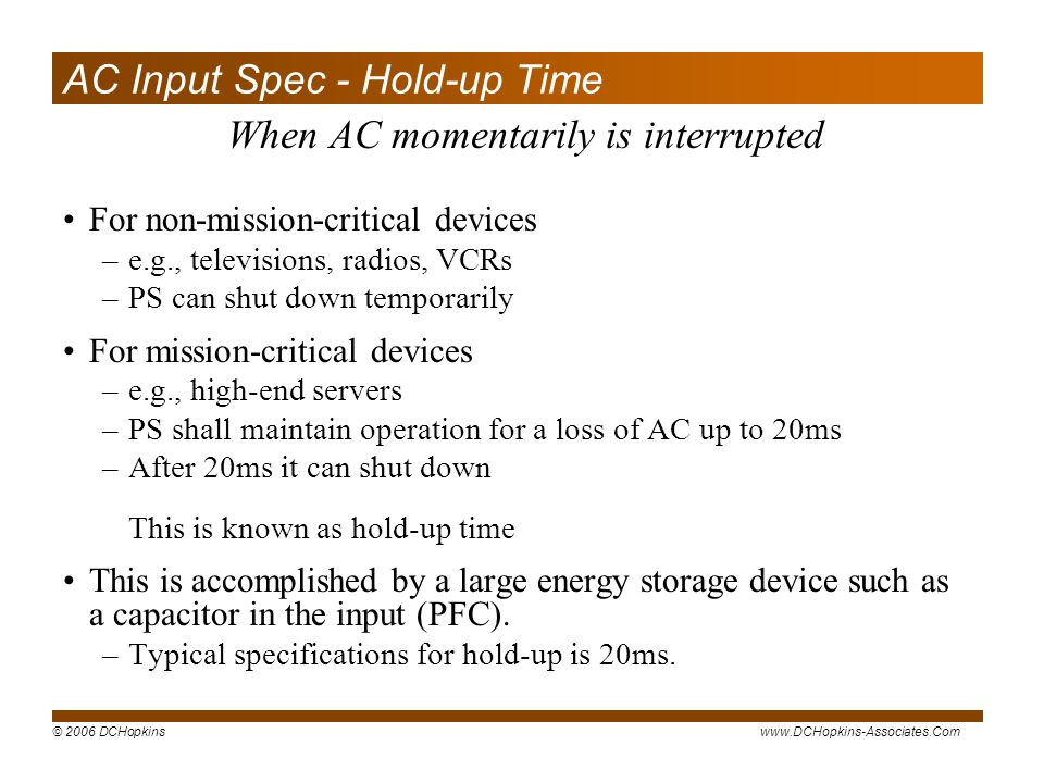 AC Input Spec - Hold-up Time