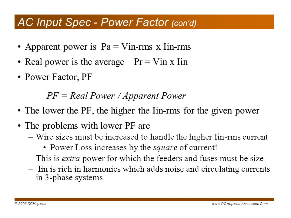 AC Input Spec - Power Factor (con'd)