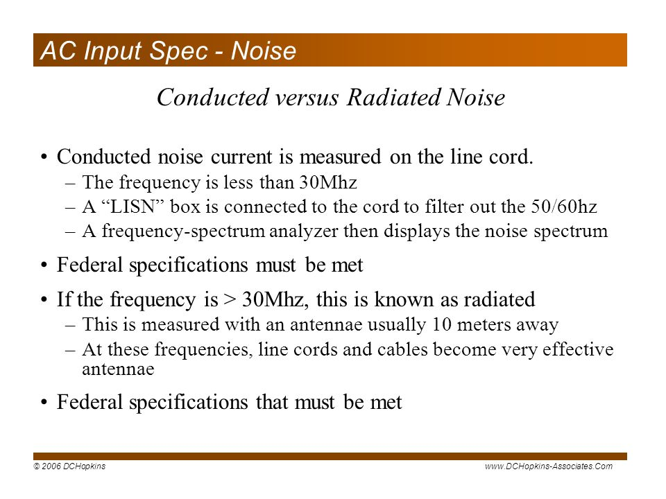 Conducted versus Radiated Noise