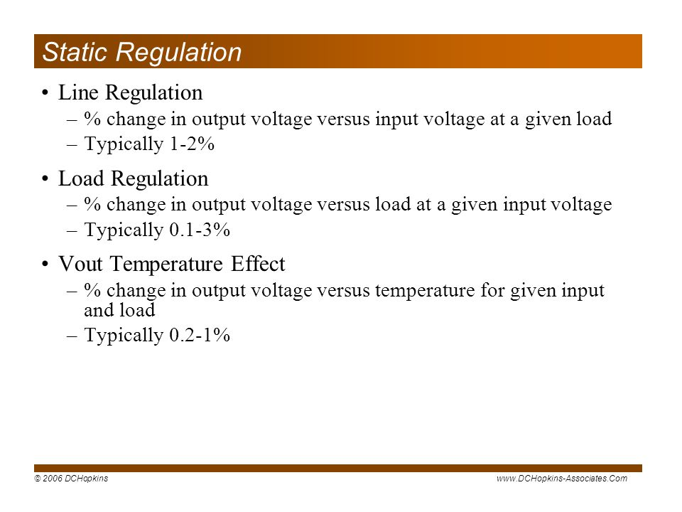 Static Regulation Line Regulation Load Regulation