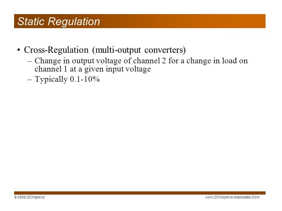 Static Regulation Cross-Regulation (multi-output converters)