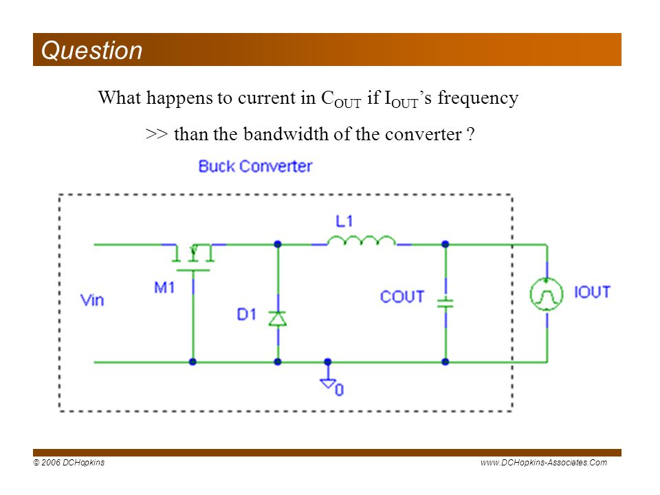 Question What happens to current in COUT if IOUT's frequency