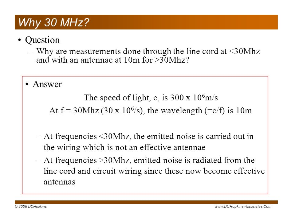Why 30 MHz Question Answer
