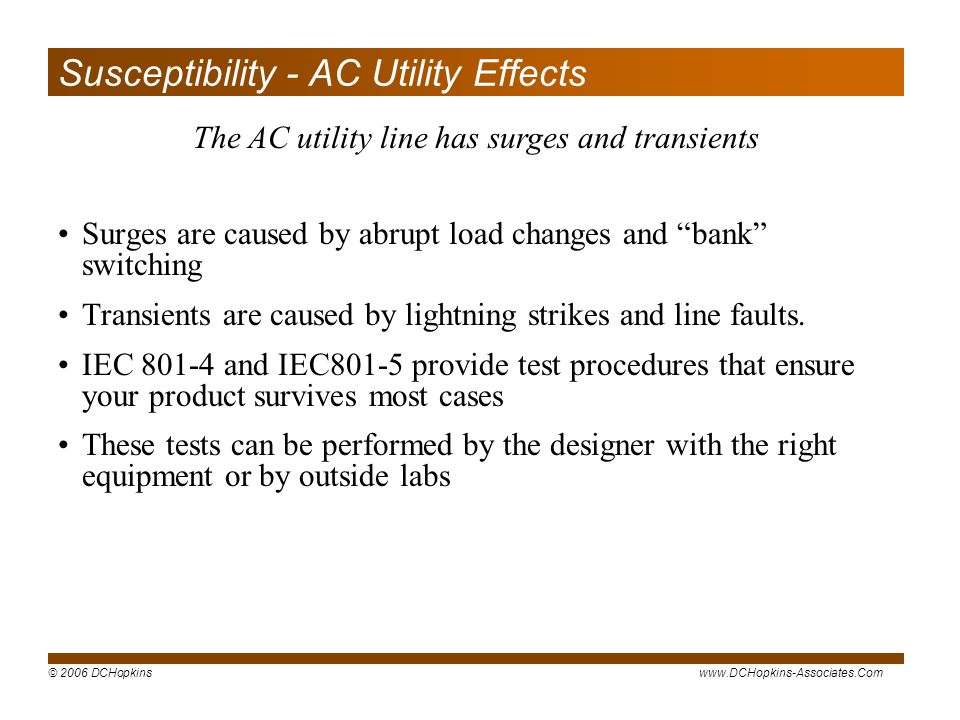 Susceptibility - AC Utility Effects