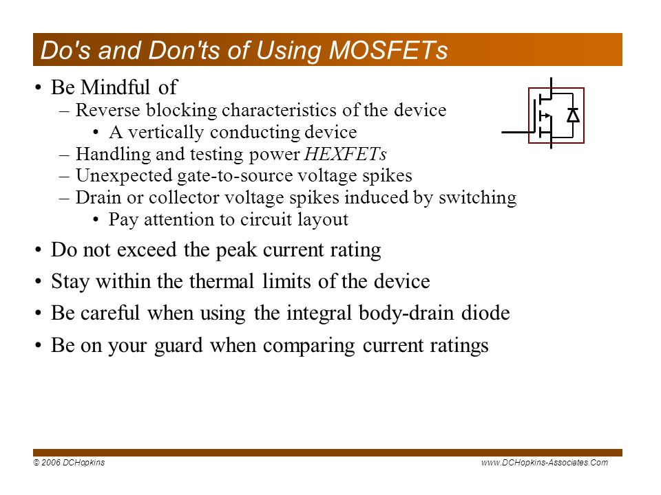 Do s and Don ts of Using MOSFETs